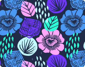 Hand drawn bold bright floral pattern