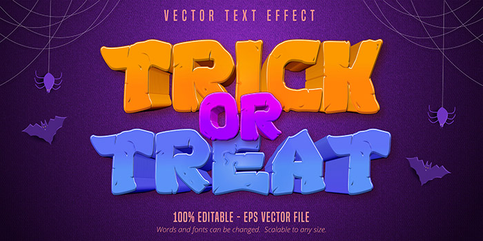 Trick or treat Halloween editable text effect