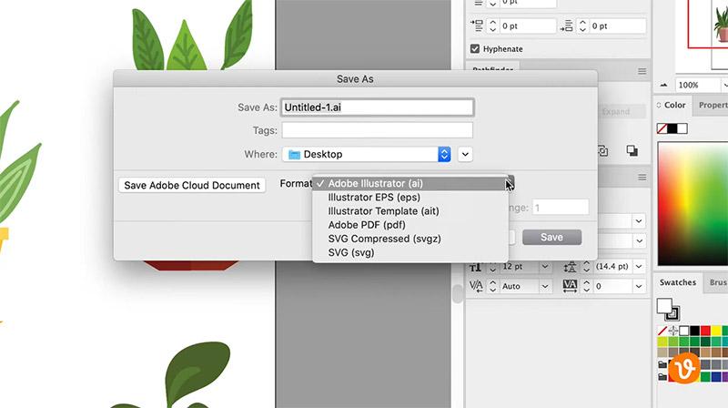 Saving a vector in Illustrator