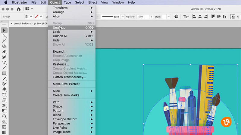 Ungrouping Objects in Illustrator