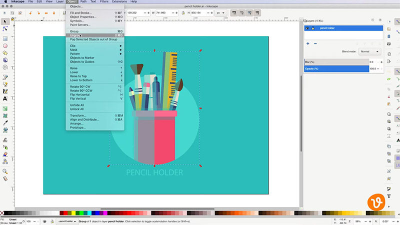 Ungrouping Objects in Inkscape