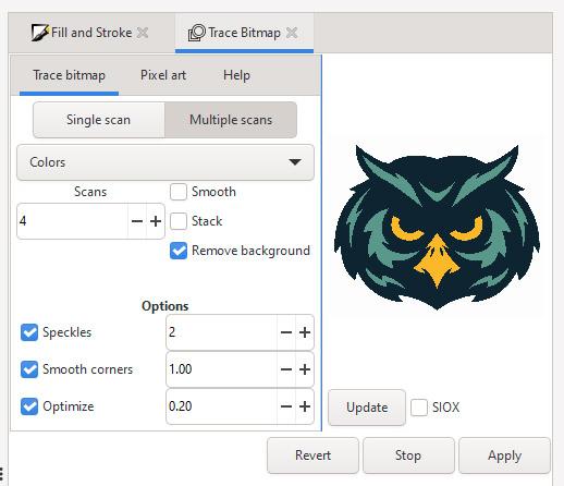 Trace Bitmap Settings